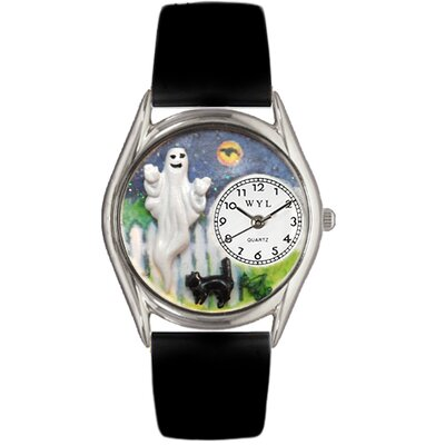 Women's Halloween Ghost Black Leather and Silvertone Watch in Silver