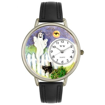 Unisex Halloween Ghost Black Skin Leather and Silvertone Watch in Silver