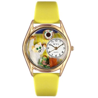 Women's Bad Cat Yellow Leather and Gold Tone Watch