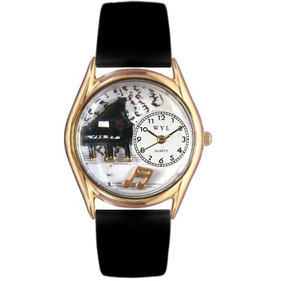 Women's Music Piano Black Leather and Gold Tone Watch