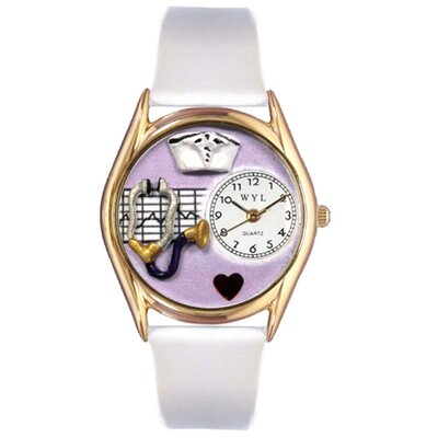 Women's Nurse Purple White Leather and Gold Tone Watch