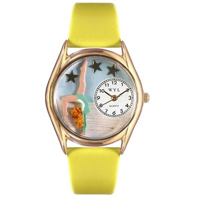 Whimsical Watches Women's Gymnastics Yellow Leather and Gold Tone Watch
