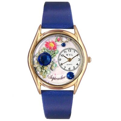 Whimsical Watches Women's Birthstone: September Royal Blue Leather and Gold Tone Watch