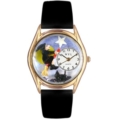 Women's Halloween Flying Witch Black Leather and Gold Tone Watch