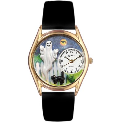Whimsical Watches Women's Halloween Ghost Black Leather and Gold Tone Watch