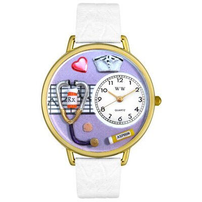 Unisex Nurse Purple White Skin Leather and Gold Tone Watch
