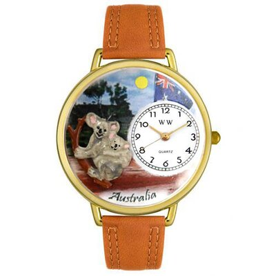 Whimsical Watches Unisex Australia Tan Leather and Gold Tone Watch