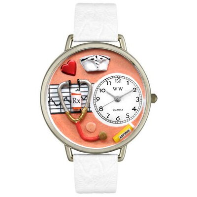 Unisex Nurse Orange White Skin Leather and Silver Tone Watch