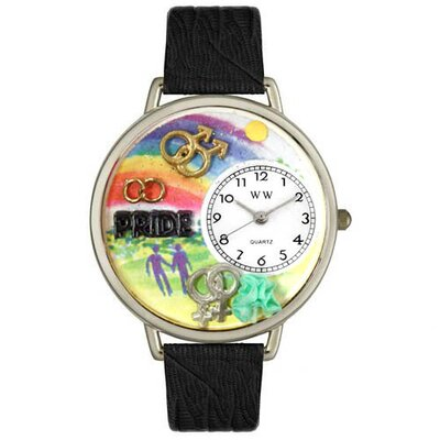 Whimsical Watches Unisex Gay Pride Black Skin Leather and Silver Tone Watch