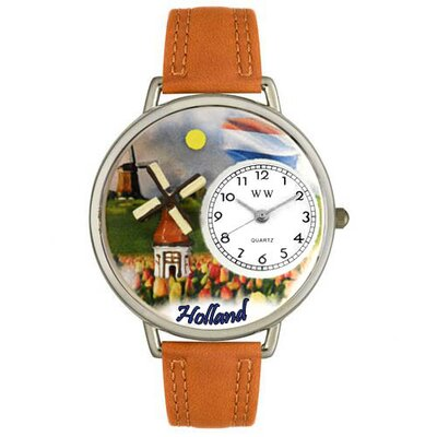 Unisex Holland Tan Leather and Silver Tone Watch