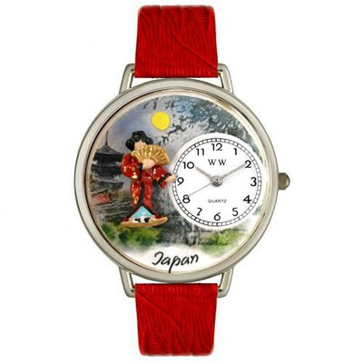 Whimsical Watches Unisex Japan Red Leather and Silver Tone Watch
