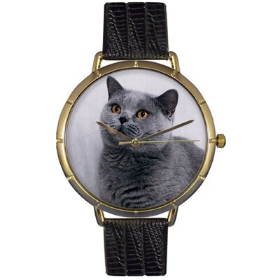 Unisex Russian Blue Cat Photo Watch with Black Leather