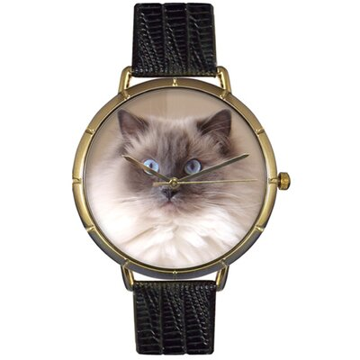 Unisex Ragdoll Cat Photo Watch with Black Leather