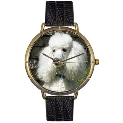 Unisex Poodle Photo Watch with Black Leather