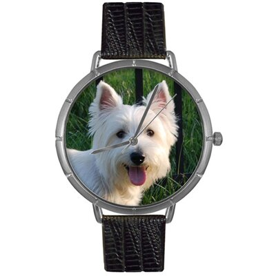 Unisex Westie Photo Watch with Black Leather