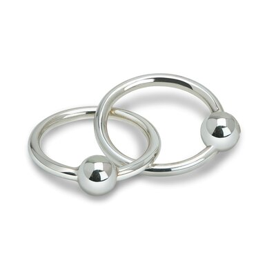 Classique Two Ring Sterling Silver Baby Rattle and Teether