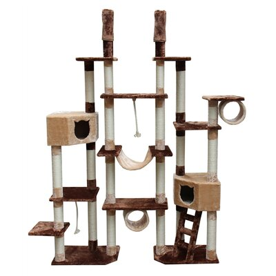 "Kitty Mansions 75-92"" Rome Cat Tree in Brown and Beige"