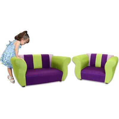 Fantasy Furniture Kid's Fancy Microsuede Sofa and Chair Set
