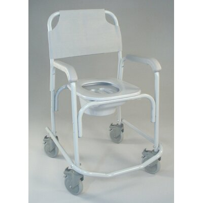 TFI Shower Chair Elongated Seat Commode in Dove Gray