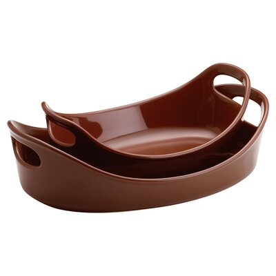 Rachael Ray Bubble and Brown 2-Piece Stoneware Baker Set in Chocolate