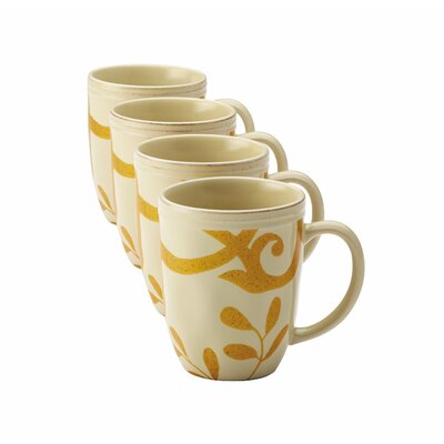 Rachael Ray Gold Scroll Mug Set