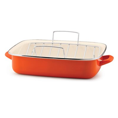 Rachael Ray Porcelain Enamel Open Roaster with V Shape Rack in Orange