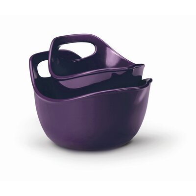 Rachael Ray Stoneware 2 Piece Mixing Bowl Set in Purple