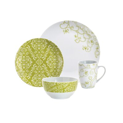 Rachael Ray Curly-Q Green 16-Piece Dinnerware Set