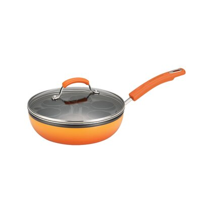 "Rachael Ray Porcelain II Nonstick Egg Poacher Plus: 9.5"" Covered Deep Skillet w/6 Nylon Egg Cups, Orange Gradient"