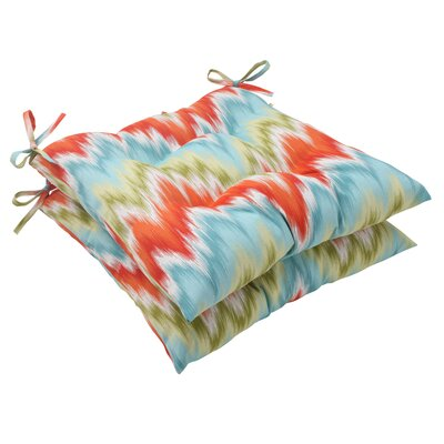 Pillow Perfect Flamestitch Tufted Seat Cushion (Set of 2)