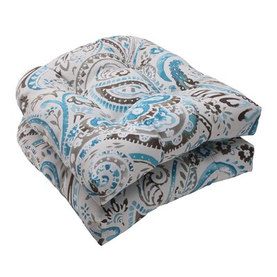Pillow Perfect Paisley Wicker Seat Cushion (Set of 2)