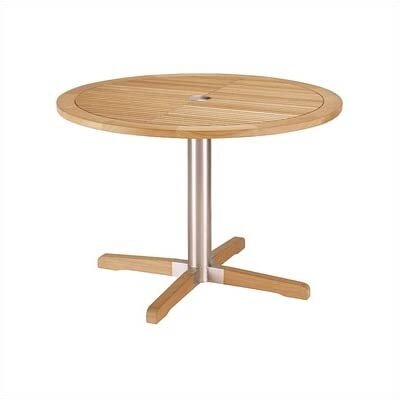 Equinox Circular Steel and Teak Side Table