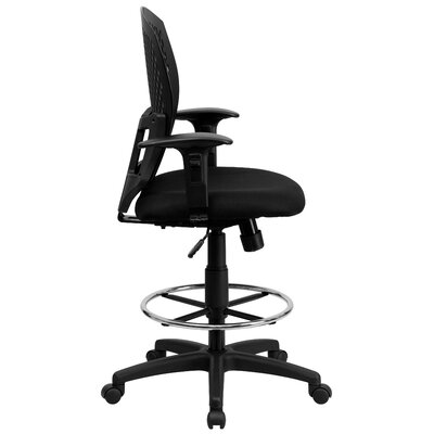 Flash Furniture Mid-Back Designer Back Drafting Stool with Padded Seat and Arms