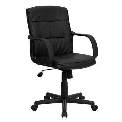 Flash Furniture Mid-Back Leather Task Chair with Nylon Arms