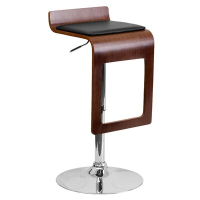 Flash Furniture Walnut Bentwood Adjustable Height Bar Stool with Vinyl Seat and Drop Frame