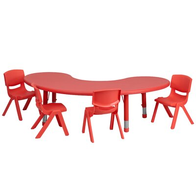 Flash Furniture Adjustable Half-Moon Activity Table Set with 4 School Stack Chairs