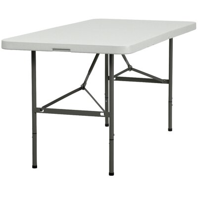 Flash Furniture Plastic Bi-Folding Table in Granite White