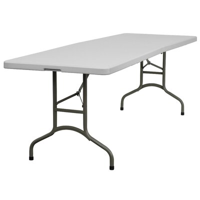 Flash Furniture Blow Molded Plastic Bi-Folding Table in Granite White