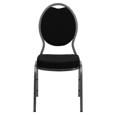 Flash Furniture Hercules Series Teardrop Back Stacking Banquet Chair With Silver Vein Frame