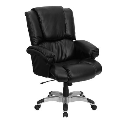 High-Back Overstuffed Executive Chair with Rolled Upholstered Arms
