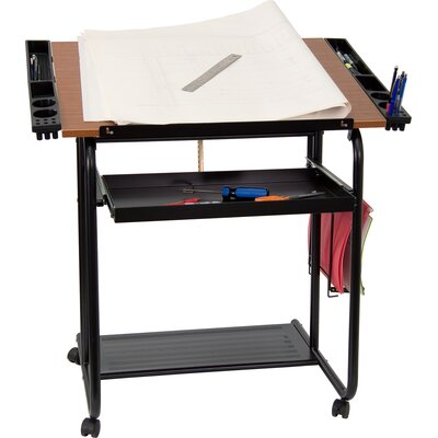Flash Furniture Adjustable Melamine Drafting Table with Black Frame