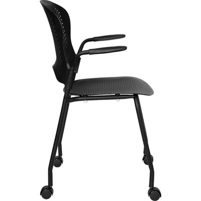 Flash Furniture Hercules Series Perforated Stacking Side Chair with Arms and Casters