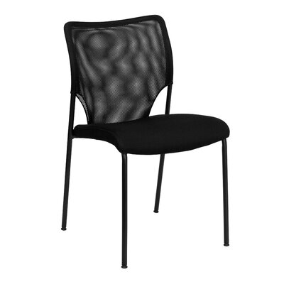 Flash Furniture Hercules Series Designer Mesh Fabric Stacking Side Chair in Black