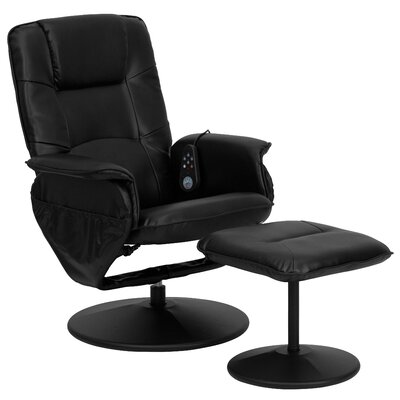 Flash Furniture Leather Heated Reclining Massage Chair with Ottoman