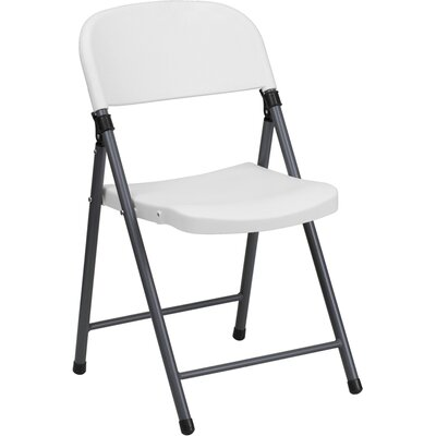 Flash Furniture Plastic Folding Chair with Charcoal Frame