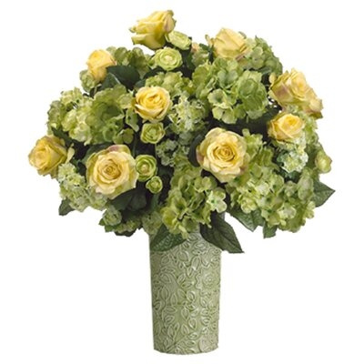 "Tori Home 22"" Rose, Hydrangea and Ranunculus Floral Arrangement with Ceramic Vase"