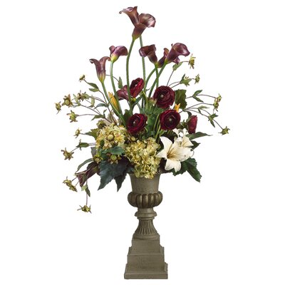 "Tori Home 37"" Calla Lily, Hydrangea and Lily Floral Arrangement with Tall Urn"