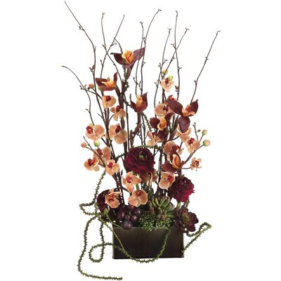 "Tori Home 31"" Phalaenopsis and Ranunculus Plant Arrangement with Rectangular Container"