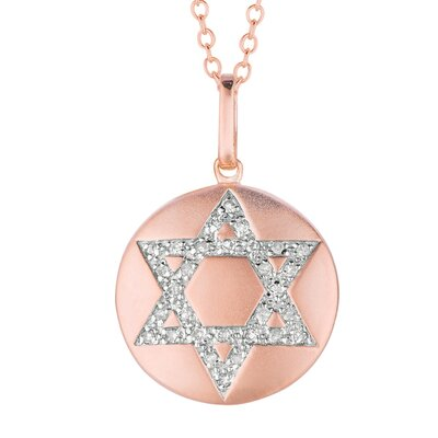 14k Gold 0.11ct TDW Diamond Round Star of David Disc Pendant