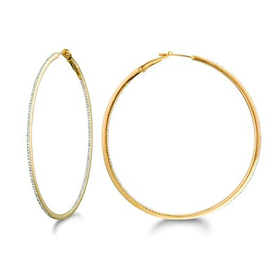 Micro Prong Gold Over Silver Diamond 0.63CT Round Hoop Earring